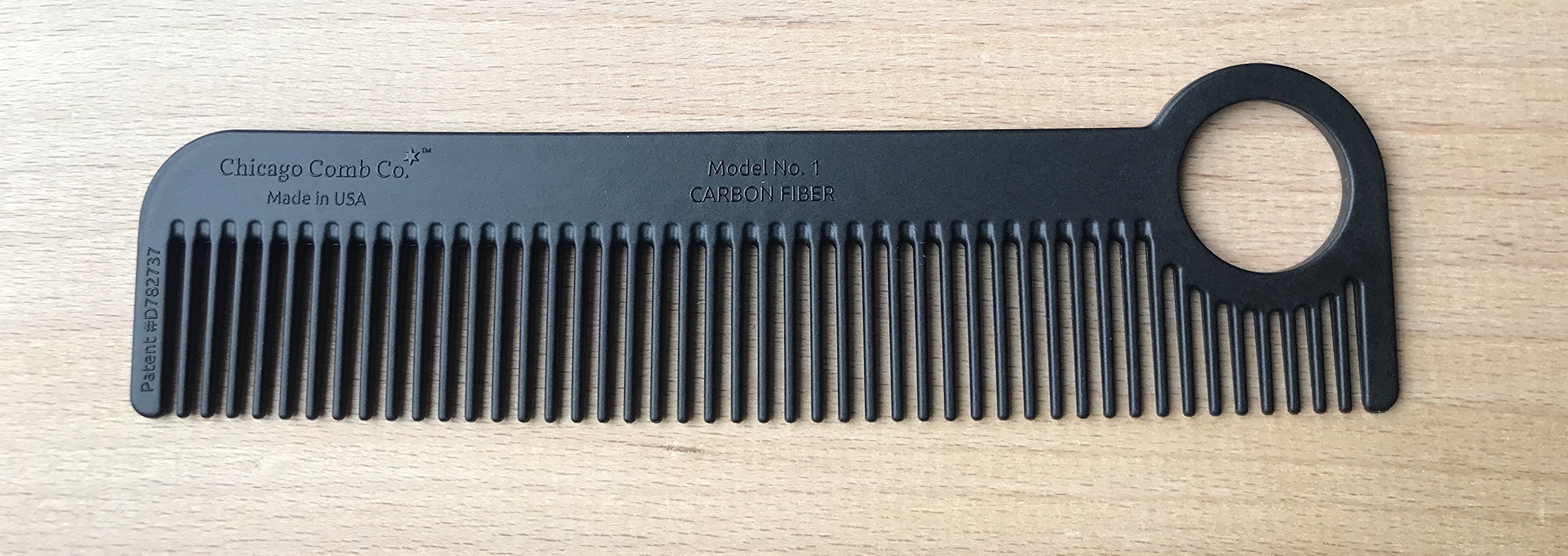 Chicago Comb Model 1 Carbon Fiber, Made in USA, ultra smooth, strong, and light, anti-static, heat-resistant, 5.5 inches (14 cm) long, ultimate daily use, pocket, and travel comb by Chicago Comb (Image #2)