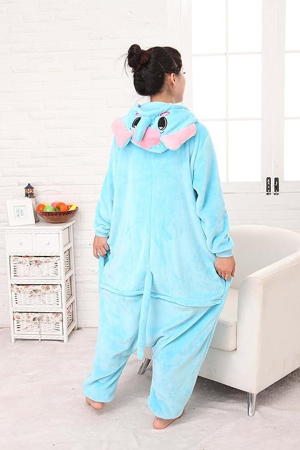 Kenmont Unicornio Juguetes y Juegos Traje Disfraz Animal Ropa de Dormir Cosplay Disfraces Pijamas para Adulto Niños (S: 148-160CM, Elefante)
