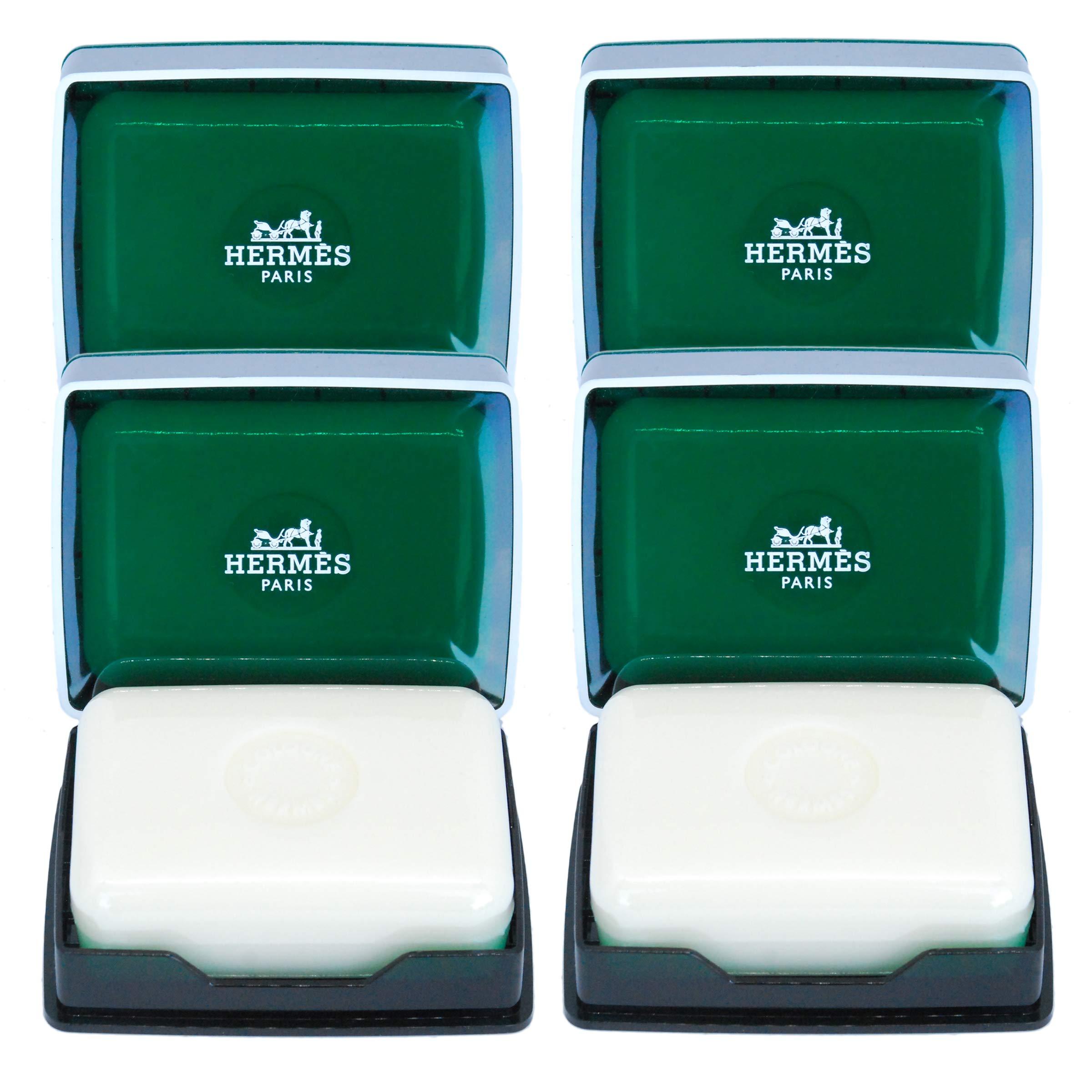 Four (4) Hermès Eau d'Orange Verte Luxury Gift Boxed 3.5 Ounce Savons Parfume/Perfumed Gift Soaps In Bubble Bag - Total 14 Ounces / 400 Grams