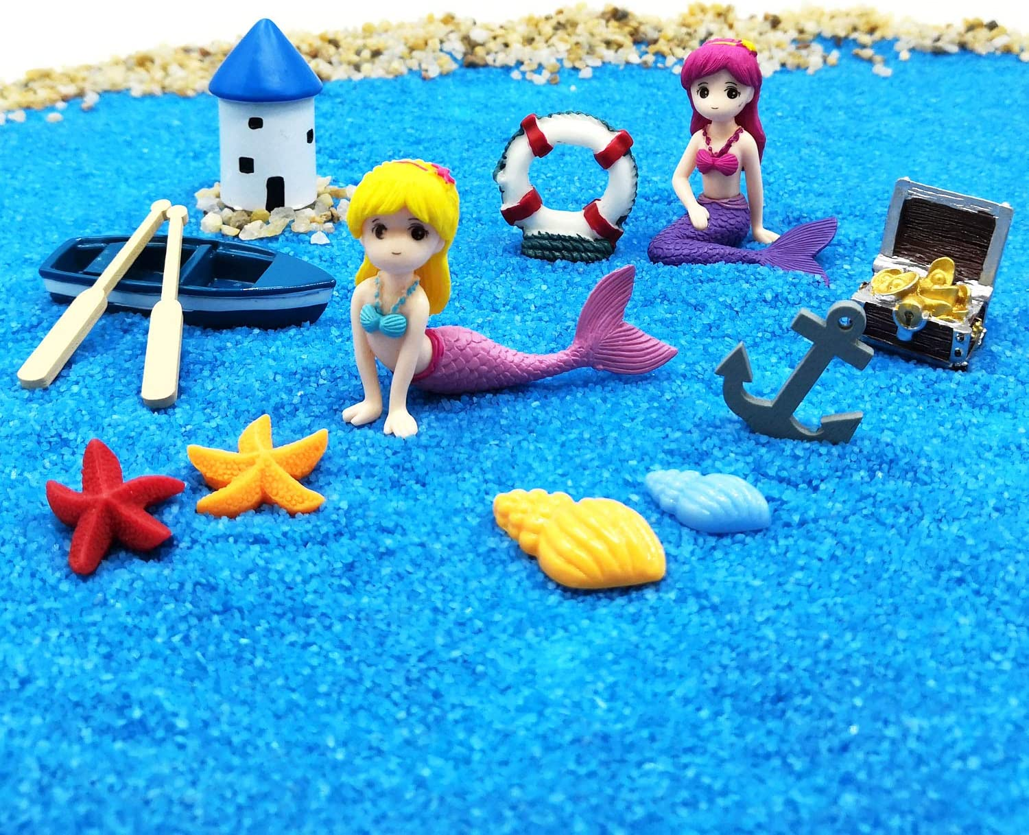 EMiEN Summer Beach Theme Mermaid Figurines Miniature Fairy Garden Ornament Kits for DIY Dollhouse Decoration, Micro Ocean Scene Fairy Garden Accessories, Blue Sand, Castle, Cute Mermaid,Treasure,Boat