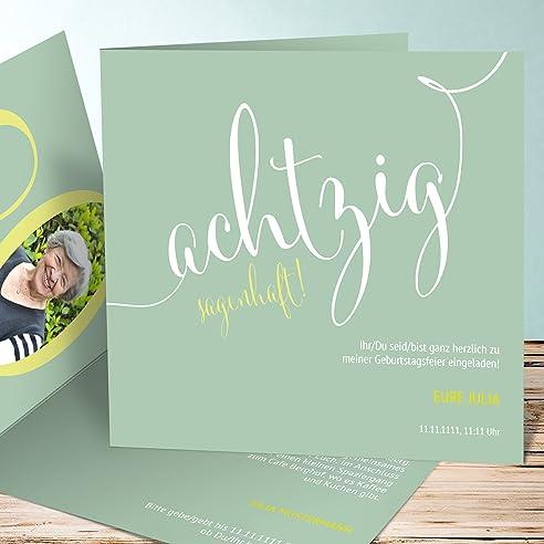Einladungskarten Zum 80 Geburtstag Selber Machen, Sagenhafte Achtzig 5  Karten, Quadratische Klappkarte 145x145 Inkl