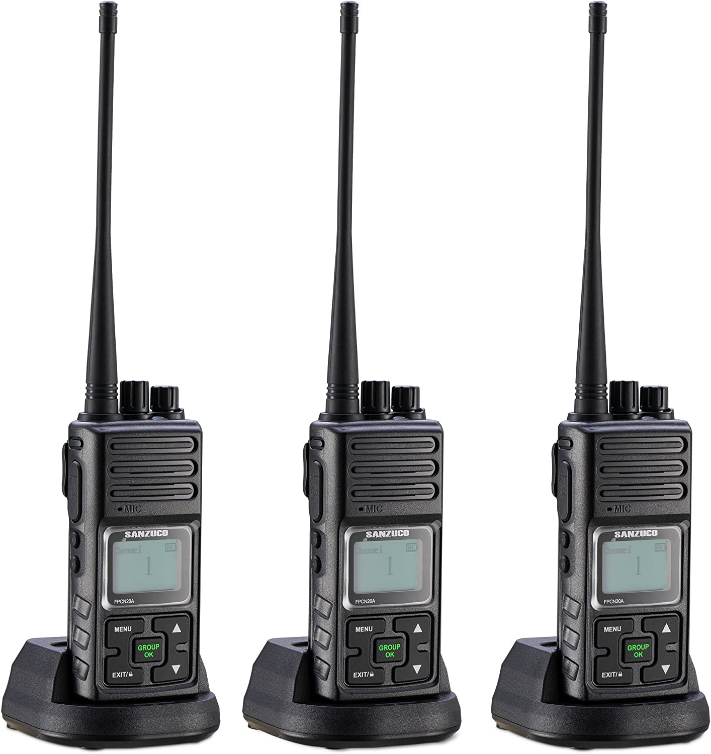 2 Way Radios Rechargable, 20 Channel UHF 400-470MHz Two- Way Radios Long Range with Group Talk and LCD Display Black,Pack of 3