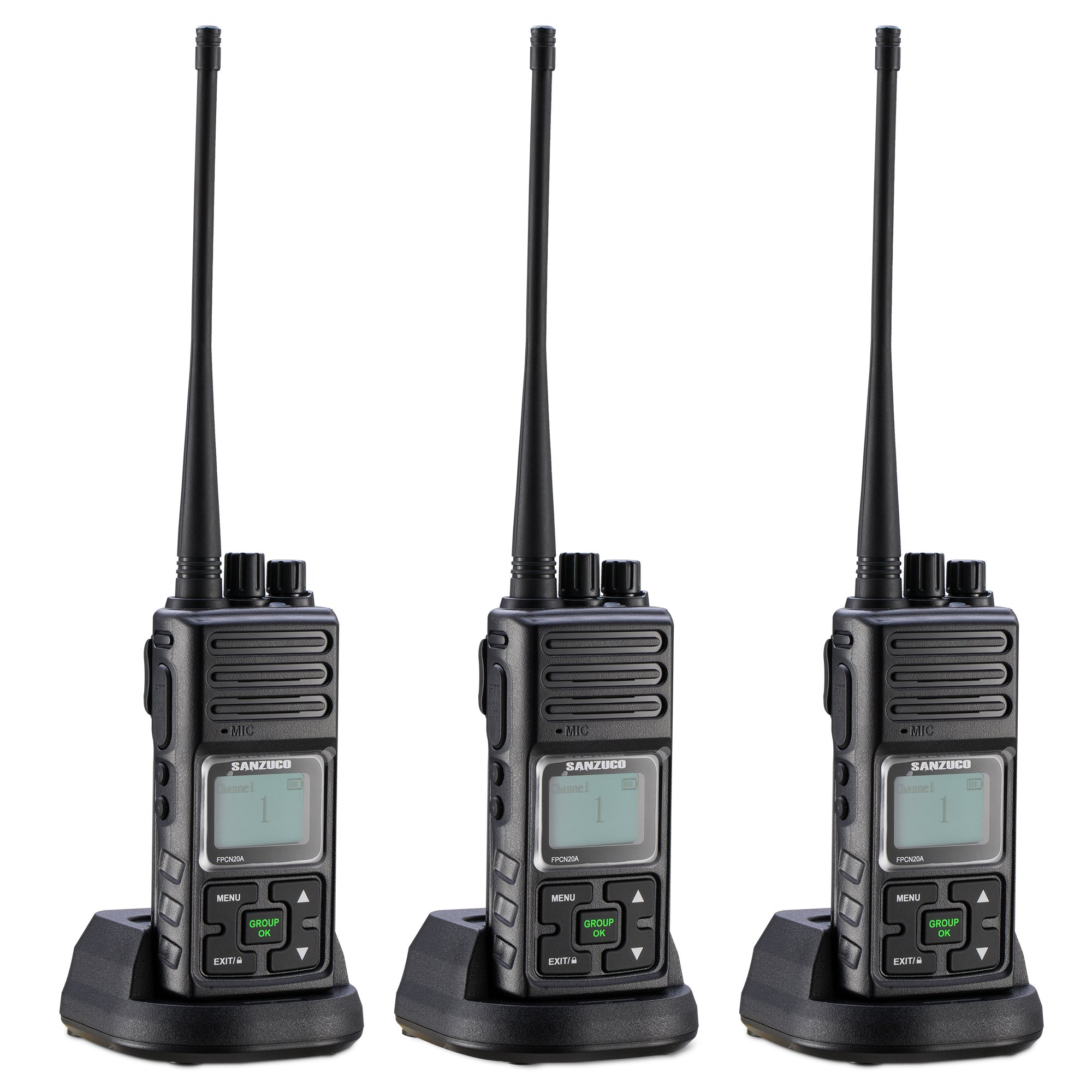 Walkie Talkie, Sanzuco 20 Channel Hands Free 2 Way Radios up to 2.5 Miles Long Range Rechargable Interphone for Outdoor Camping Hiking (black,pack of 3)