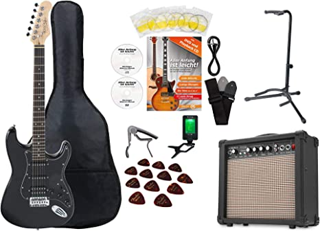Set de guitarra eléctrica Rocktile Super Kit Black con muchos ...