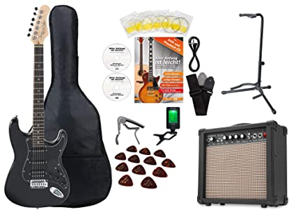 Rocktile Super Kit – Set completo de guitarra eléctrica (Amplificador, afinador, Cejilla,