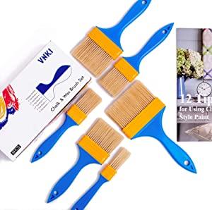 VNKI 6PCS Chalk & Wax Paint Brush Set for Painting and Refinishing Furniture (1,1.5,2,2.5,3,4in)