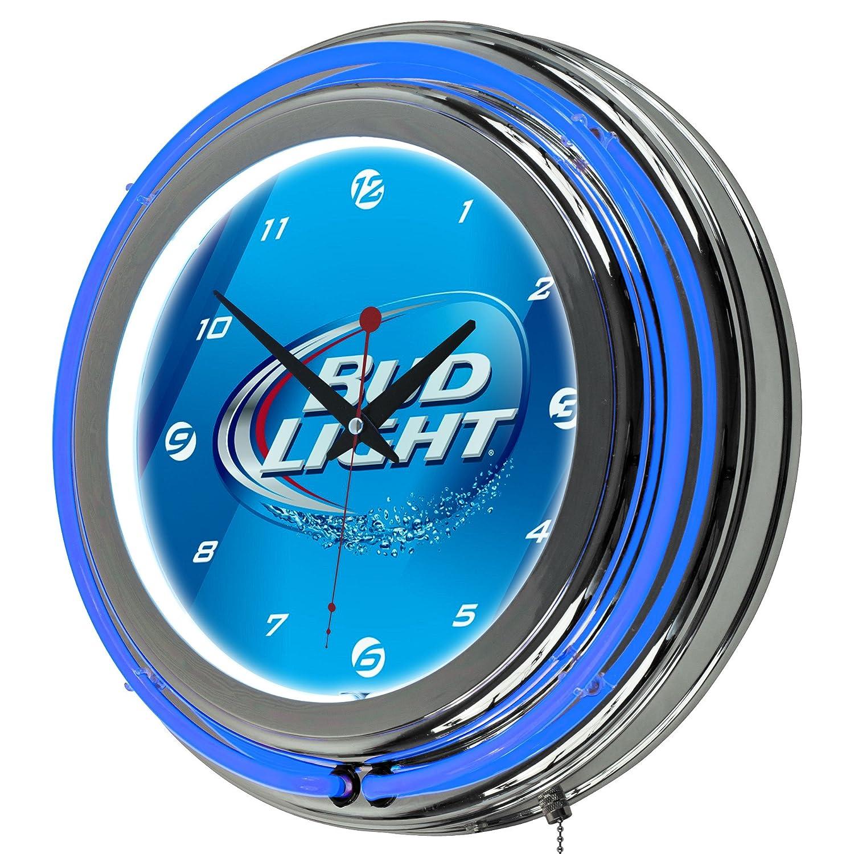 Amazoncom Bud Light Chrome Double Ring Neon Clock 14 Sports