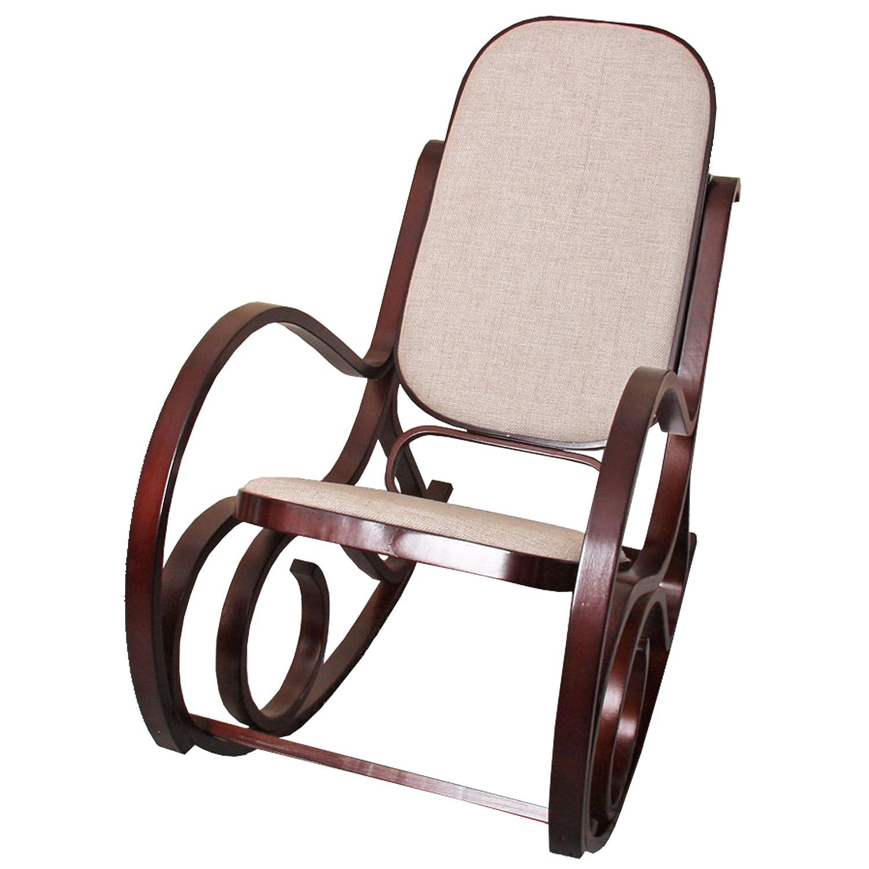 Sedia a dondolo M41 legno 90x50x90cm noce seduta tessuto beige Mendler