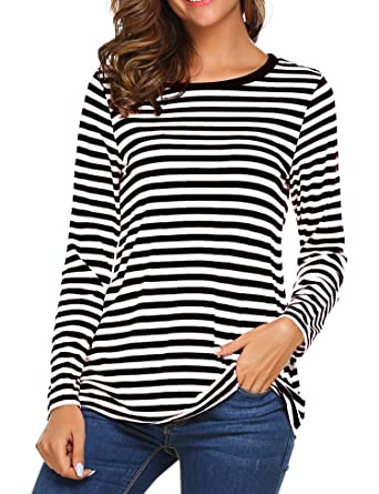 2eaa97608f56f OURS Women s Round Neck Long Sleeve Basic T-Shirt Striped Shirts Tunic Top  Blouse (