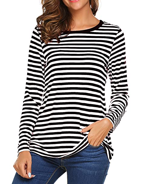 OURS Women s Round Neck Long Sleeve Basic T-Shirt Striped Shirts Tunic Top  Blouse ( 05a60a92b