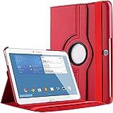 """Bingsale 360 à Housse en cuir pour Samsung Galaxy Tab 4 Tablette tactile 10.1"""" SM-T530/SM-T531/SM-T525 avec rabat/stand de positionnement support et le sort de veille (samsung galaxy tab 4 10.1, rouge)"""