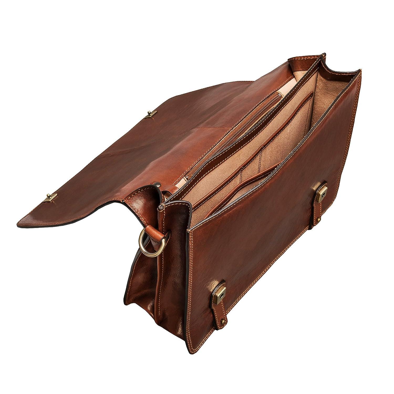 Maxwell Scott klassisk läderväska – Battista Chestnut Tan