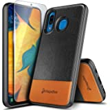 NageBee Case for Samsung Galaxy A20 / A30 with Tempered Glass Screen Protector, Premium [Genuine Leather] Armor Shockproof Dual Layer Hybrid Rugged Durable Case -Black/Brown