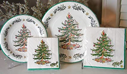 Assorted Spode Christmas Tree Paper Plates u0026 Napkins 72 Pcs Serves 16 & Amazon.com: Assorted Spode Christmas Tree Paper Plates u0026 Napkins 72 ...