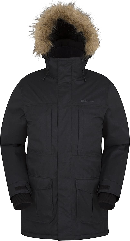 Smeiling Mens Faux-Fur Hoodie Padded Winter Front-Zip Mid Long Down Jacket Coat