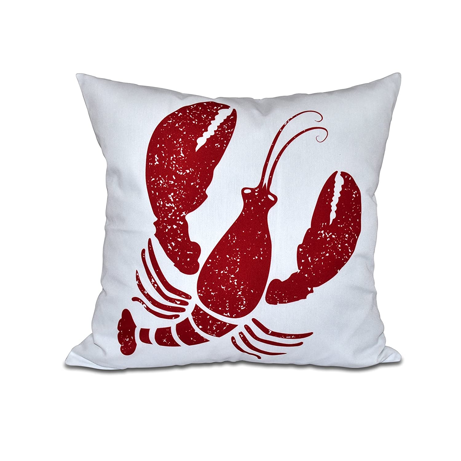 E by design O5PAN404BL14OR13-18 18 x 18 Lobster Animal Print Pillow Navy Blue