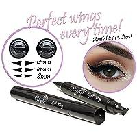 Eyeliner Stamp – WingLiner By Lovoir / Vogue Effects Black, Waterproof, Smudgeproof, Winged Long Lasting Liquid Eye Liner Pen, Vamp Style Wing, 2 Pens In A Pack (10mm Classic)