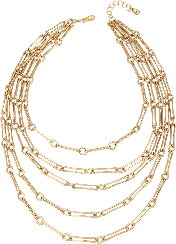 ROBERT LEE MORRIS Set of 2 Gold Chain Link Bracelet Toggle Closure