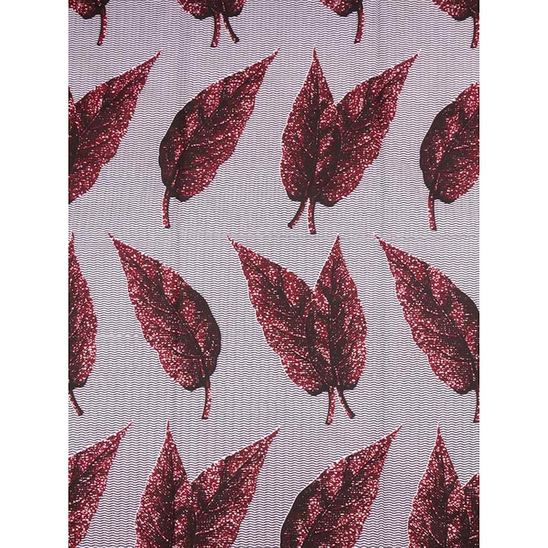 Premier Sego Fabric Real Wax Kermesinus Grey Leaves Designs Party Dress rw35942