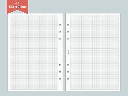 Papel milimetrado A5 - 25 hojas - Bloc de papel para agenda ...