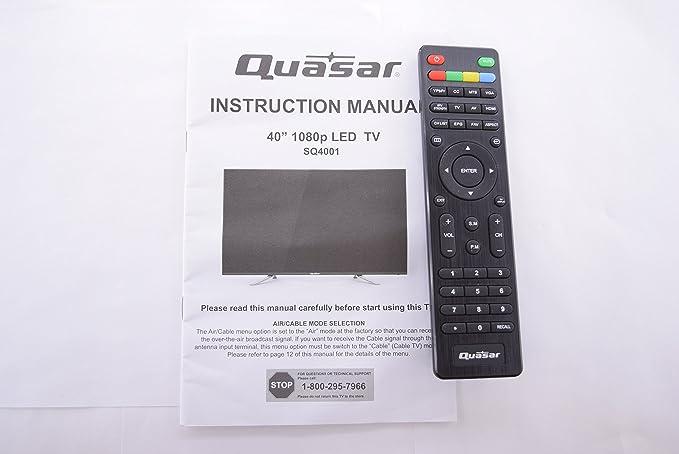 Quasar SQ4001 - Mando a Distancia y Manual de Instrucciones para TV 20553: Amazon.es: Electrónica