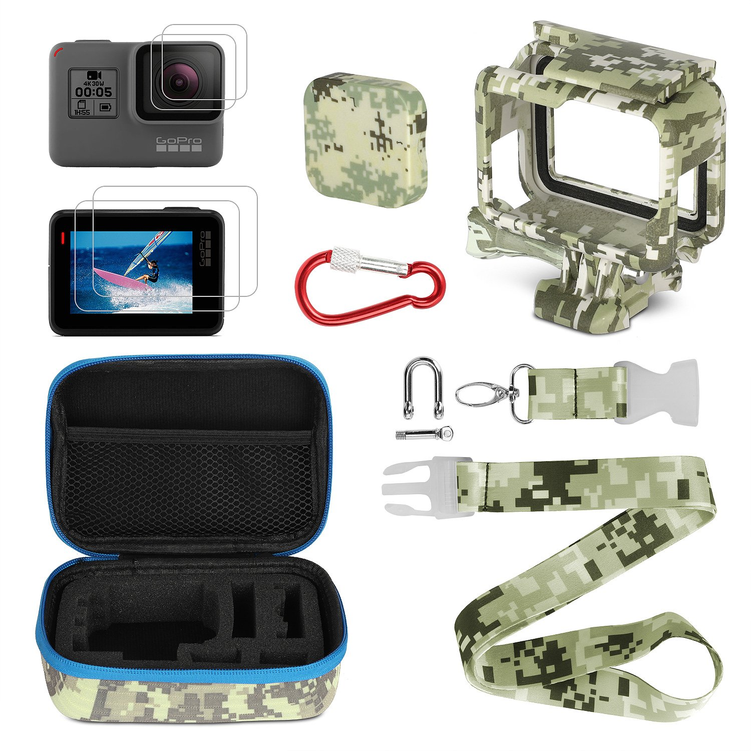 Gopro Accessories Kits, Kitspeed Portable Action Camera Accessory Kit with Camouflage for GoPro Hero 5/Hero 6/Hero (2018), Storage Bag, Lens Cap Cover,Protective Case,Carabiner, Strap,Lens Film