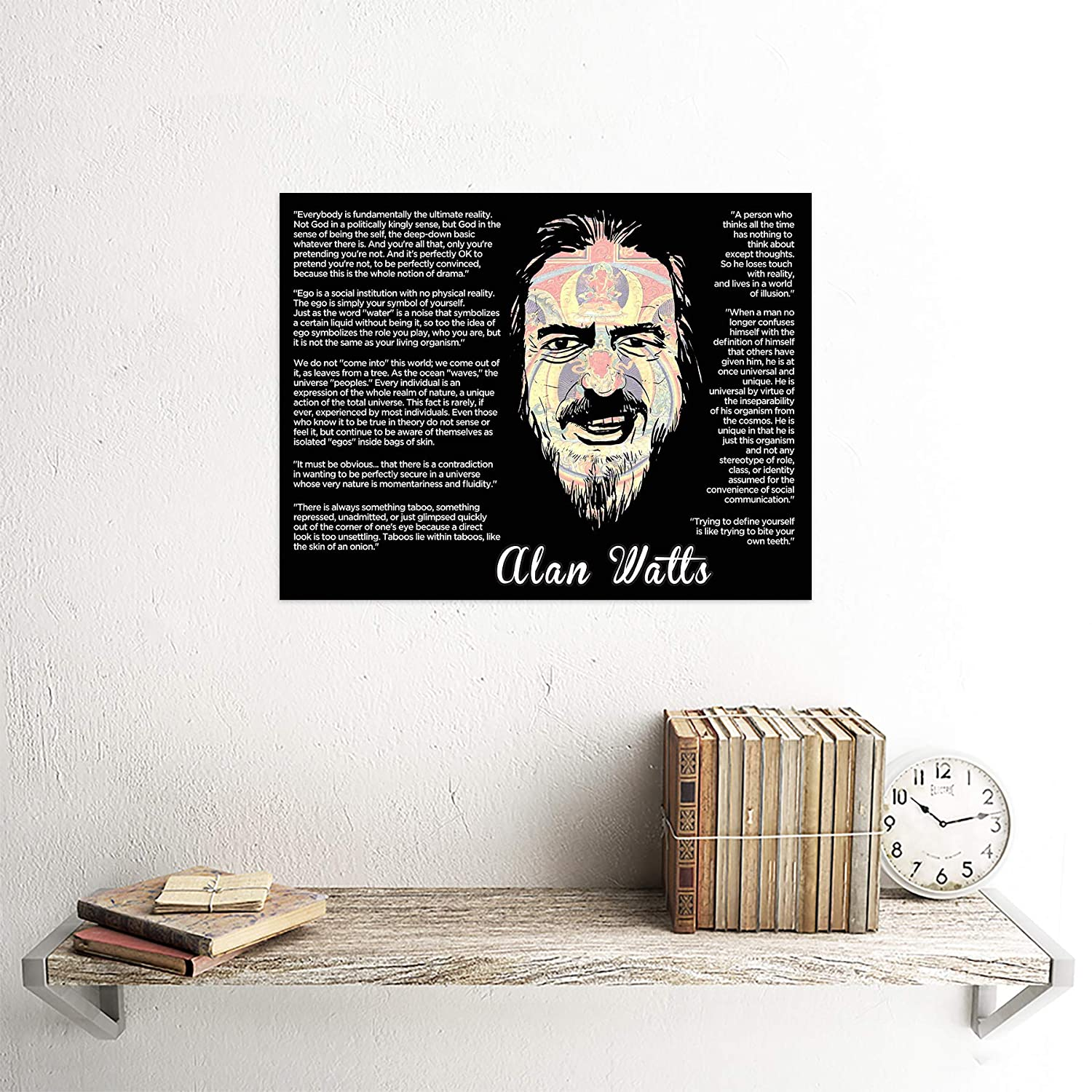 Wee Blue Coo Alan Watts Everybody is Fundamentally Ultimate Face Quote Unframed Wall Art Print Poster Home Decor Premium
