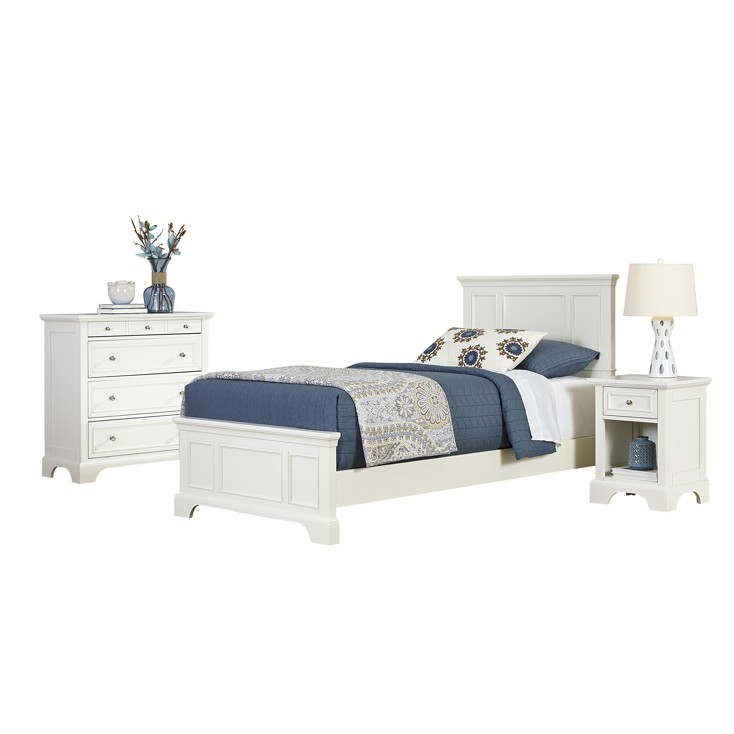 Naples White Twin Bed, Night Stand and Chest by Home Styles by Home Styles