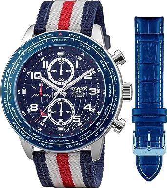 Aviator Military Pilot Flight Series 2 en 1 reloj – esfera azul de ...