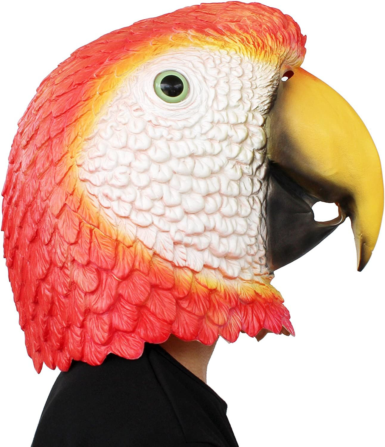 PartyHop - Red Parrot Mask - Latex Animal Bird Head Mask Halloween Party Costume for Adults and Kids