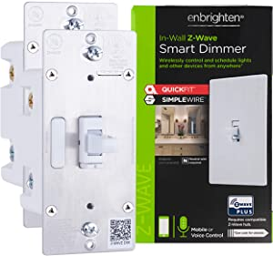 Enbrighten Z-Wave Plus Smart Light Dimmer 2-pack with QuickFit and SimpleWire, 3-Way Ready, Works with Alexa, Google Assistant, ZWave Hub & Neutral Wire Required, Toggle, 47897