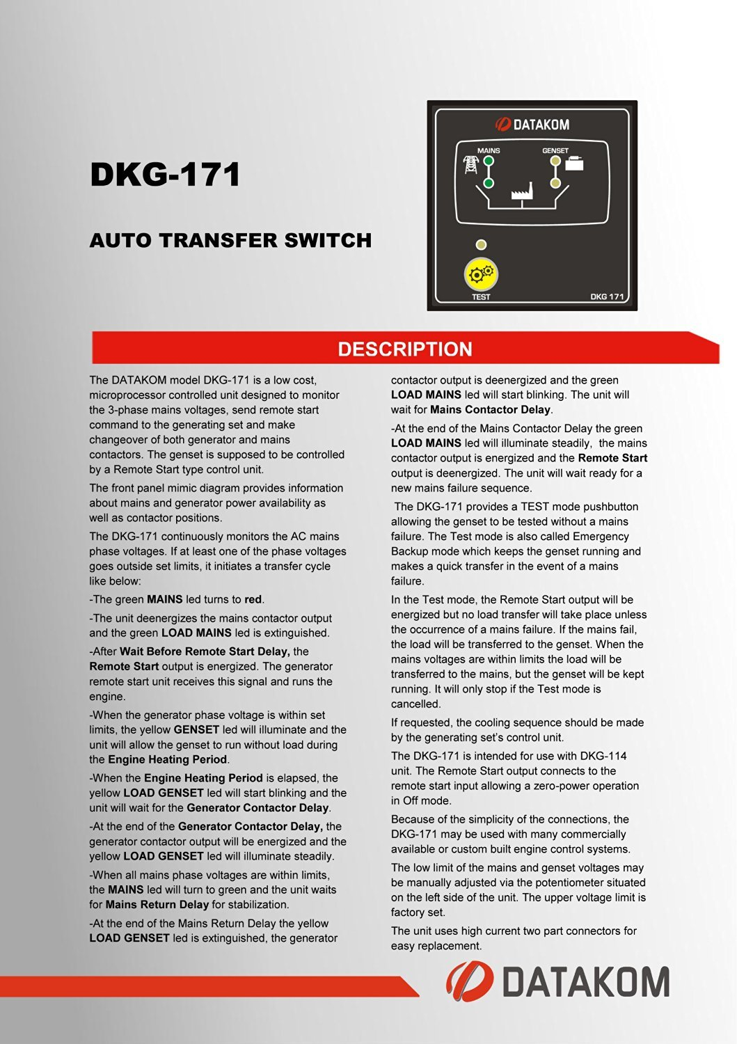 Datakom Dkg 171 Generator Mains Auto Transfer Switch Automatic Inverter And Ac Changeover Circuit Electronic Electronics