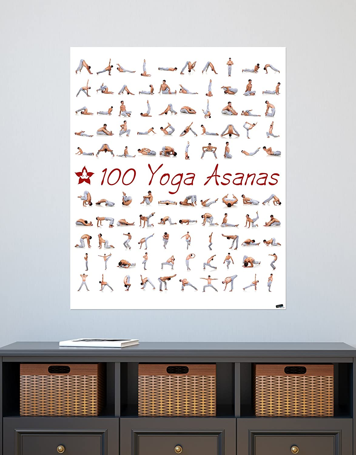 Amazon.com: Stickerbrand 100 Yoga Poses Asanas Poster ...