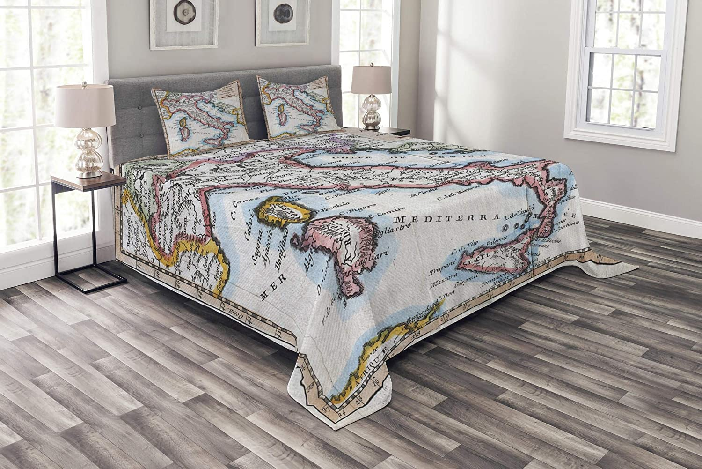 Ambesonne Wanderlust ベッドスプレッド 色付きXVIIIth Century Italy 地図 Royal French Geographer Vaugondy 印刷 装飾キルトカバーセット 枕カバー付き マルチカラー クイーン bed_11534_queen B07HFC9SQ7 マルチ1 クイーン