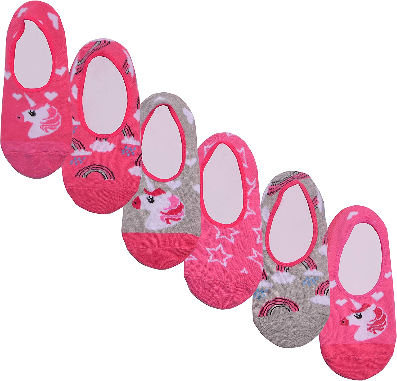 Girls 6 Pack Unicorn Animal Design Invisible Liner Socks Childrens Pink Grey Hidden No Show Socks