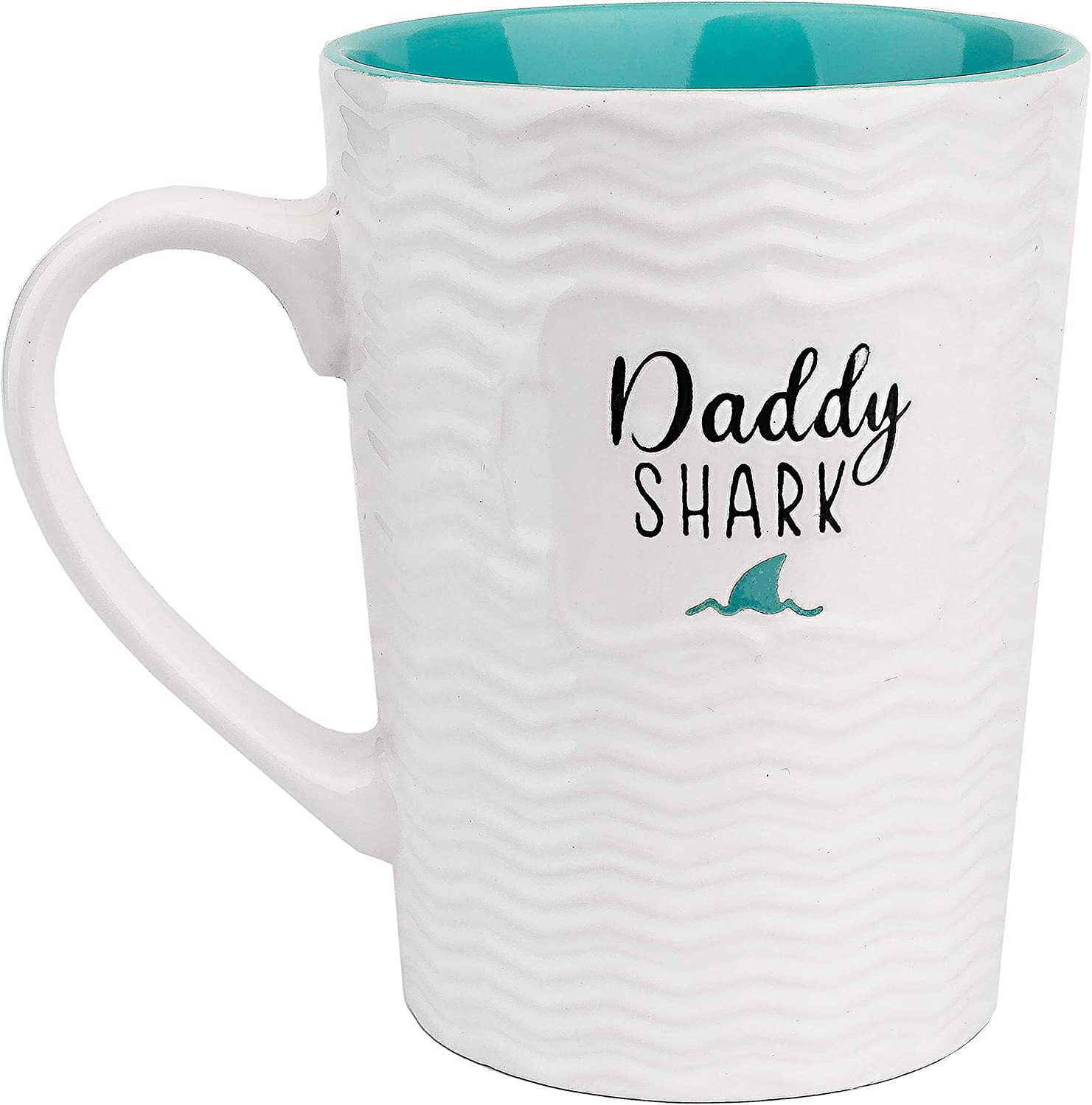 Ynsfree Daddy Shark Cute 16-oz Coffee and Tea Mugs,For Dad Father's Day Funny Ceramic Blue Mugs