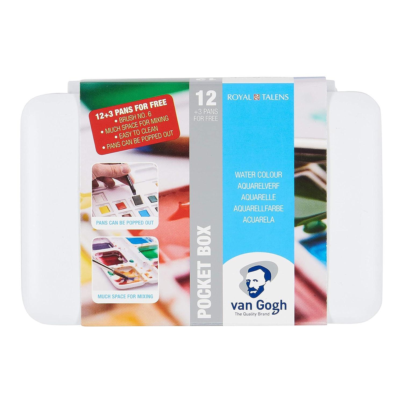 Vangogh Pack Of 12 Watercolors 3 Pocket Box Brush 6 Water