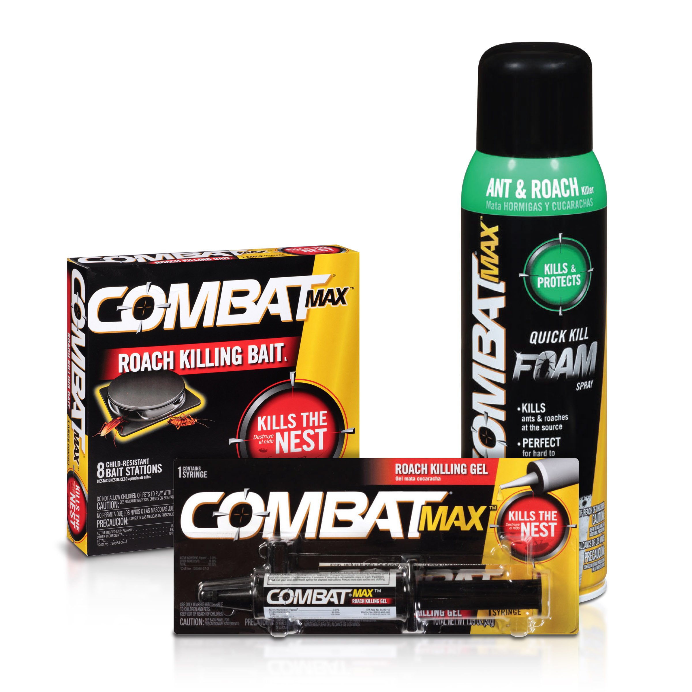 Combat Max Large Roach Control Products - Bait, Gel, and Foam Spray