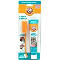 Arm & Hammer Advanced Care Dental Kit for Cats eliminates Bad Breath | 3Piece Set Includes Toothpaste, Toothbrush & Fingerbrush | Tuna Flavor, 4 oz
