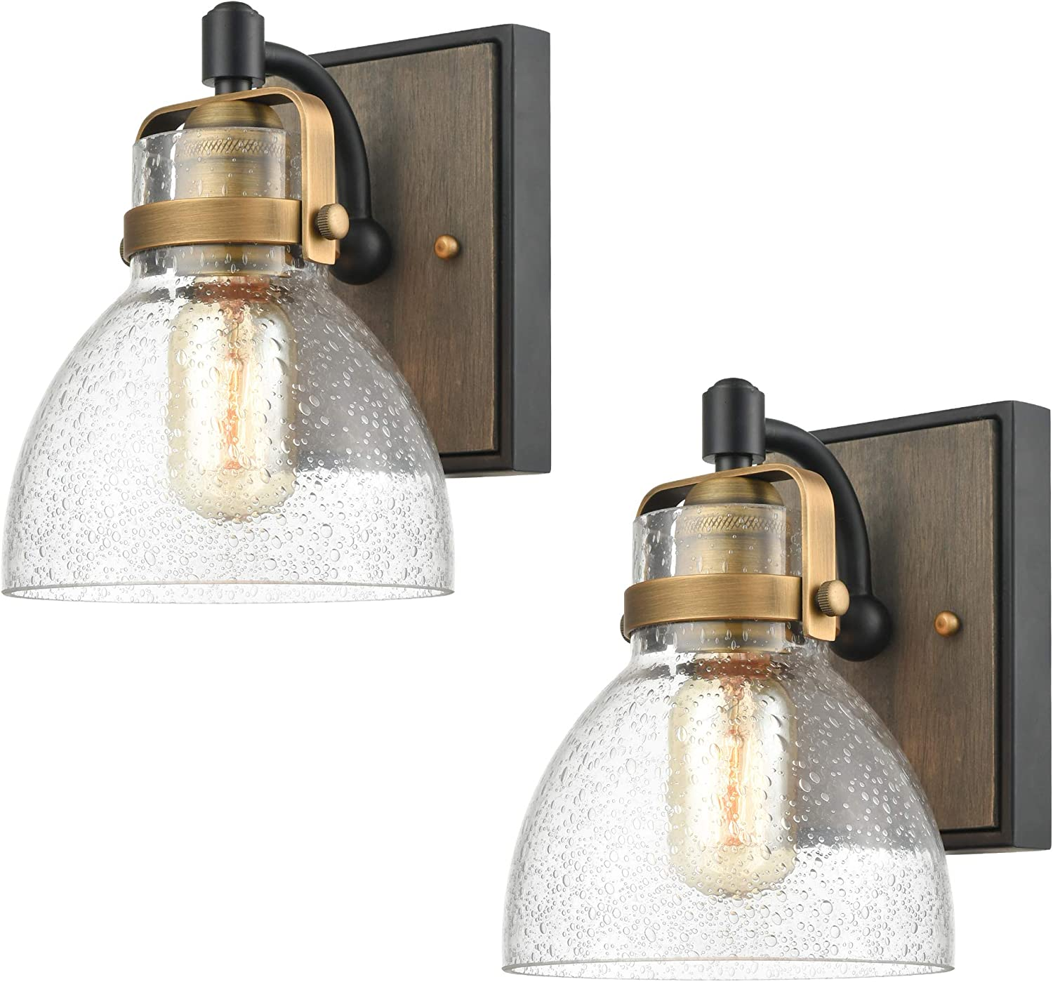 Wildsoul 40061bk 2 Modern Farmhouse 1 Light Armed Sconce Rustic Wood Backplate Glass Bathroom Vanity Wall Light Fixtures Handblown Dome Clear Seeded Glass Matte Black And Brass Finish Pack Of 2