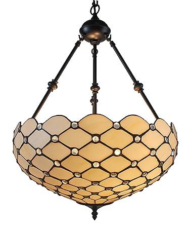 Amora lighting am1117hl18 tiffany style ceiling hanging pendant amora lighting am1117hl18 tiffany style ceiling hanging pendant lamp 18 inch 2 lights white aloadofball Choice Image