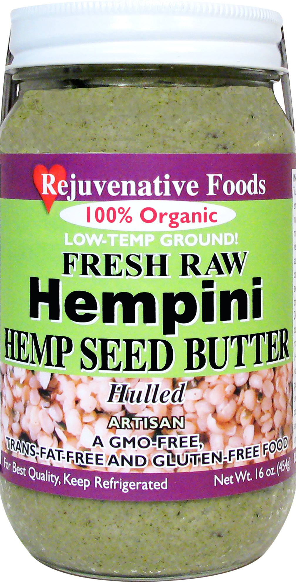 FOUR 8 oz. Fresh Raw Organic Hempini Hemp Seed Butter Pure Rejuvenative Foods Low-Temp-Ground Artisan-Vegan In-Glass Vitamin-Protein-Antioxidant-Mineral-Nutrition Certified Organic (4 - 8 oz.)