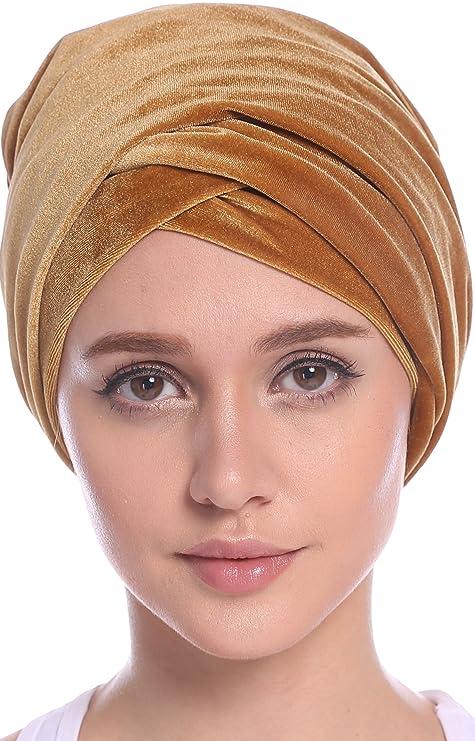Ababalaya Womens Gold Velvet Luxury Magic Turban Muslim Headscarf 67×10 Inch (1Gold) at Amazon Womens Clothing store: