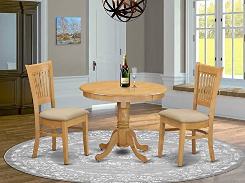ANVA3-OAK-C 3 PC Dinette set – Kitchen Table and 2 Dining Chairs
