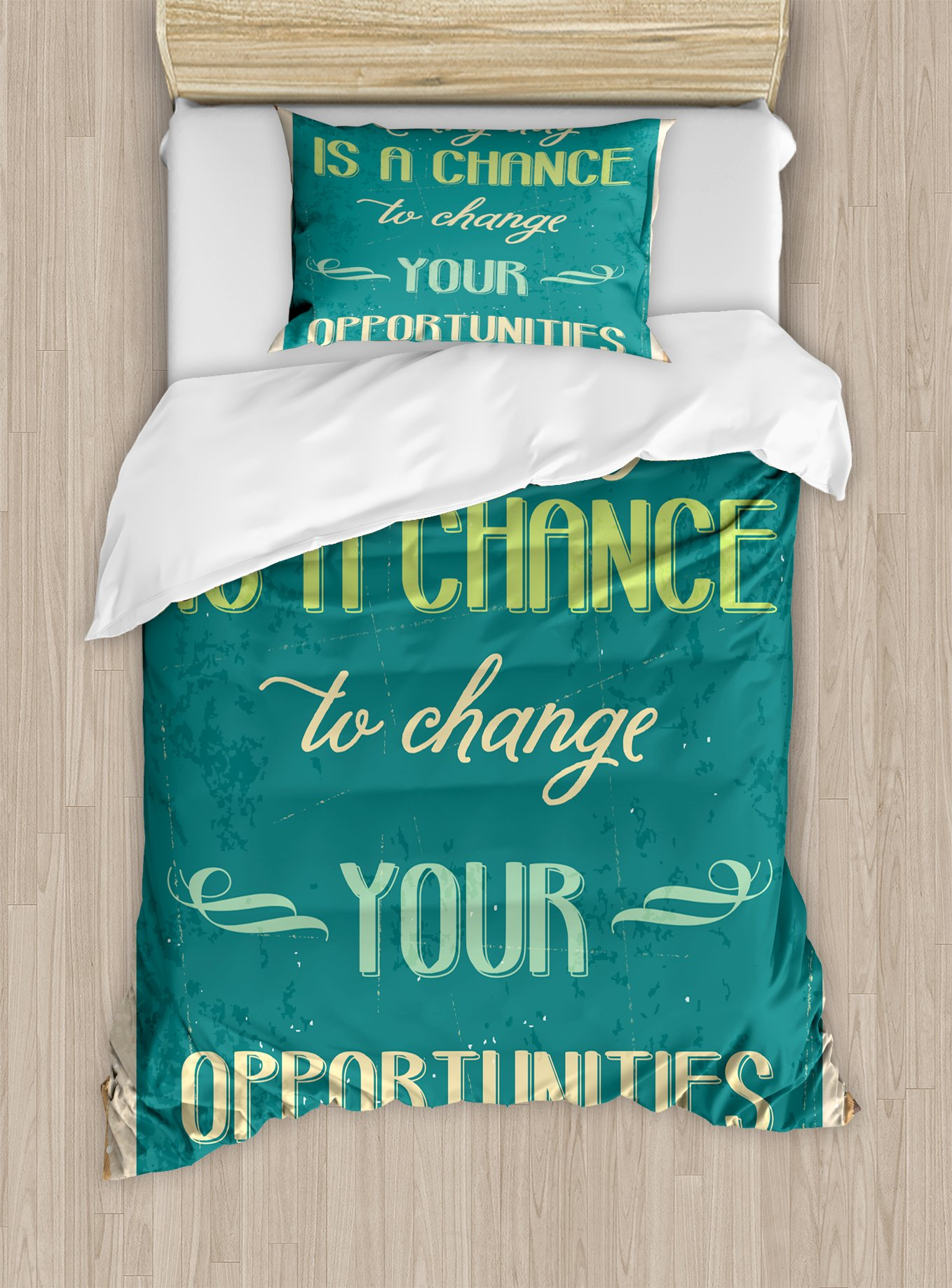 Ambesonne Lifestyle Duvet Cover Set Twin Size, Every Day is a Chance to Change Your Opportunities Quote Retro Poster Print, Decorative 2 Piece Bedding Set with 1 Pillow Sham, Jade Green Tan by Ambesonne