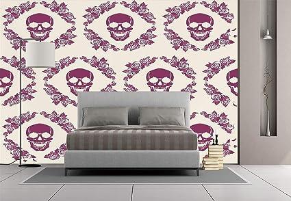 Large Wall Mural Sticker [ Skull Decorations,Maroon Decorative Monochrome  Calavera Surround by Circle Wreath Print,Red Beige ] Self-Adhesive Vinyl ...