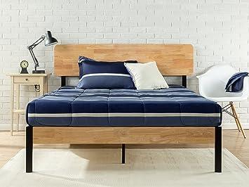 zinus tuscan metal wood platform bed with wood slat support queen - Queen Bed Frame Amazon
