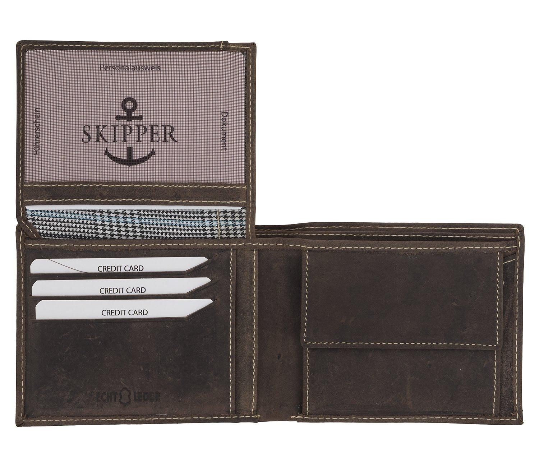 2aec8250e99de Skipper Herren Geldbeutel aus Echt Leder Querformat - Braun 7085   Amazon.de  Koffer