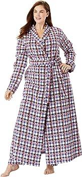 Dreams /& Co Womens Plus Size Long Flannel Robe