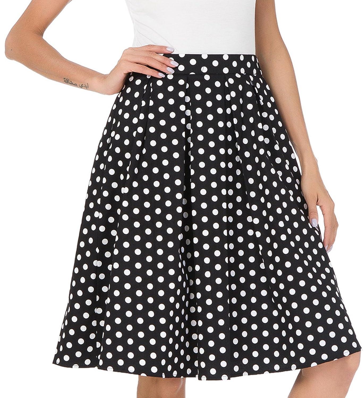 92eb09f84 Amazon.com: Janmid Women's High Waisted A Line Street Skirt Skater Pleated  Full Midi Skirt: Clothing